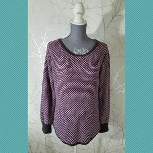 Marble Purple White Chunky Knit Scoop Neck Sweater